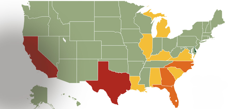 Map of the United States with states color coded by number of animals killed in shelters