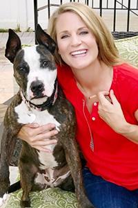 Amanda Laraway with a dog