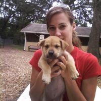 Andie holding tan puppy