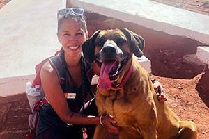 Elizabeth Bennett with a dog