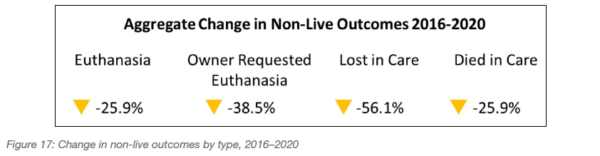 Change in non-live outcomes by type, 2016-2020