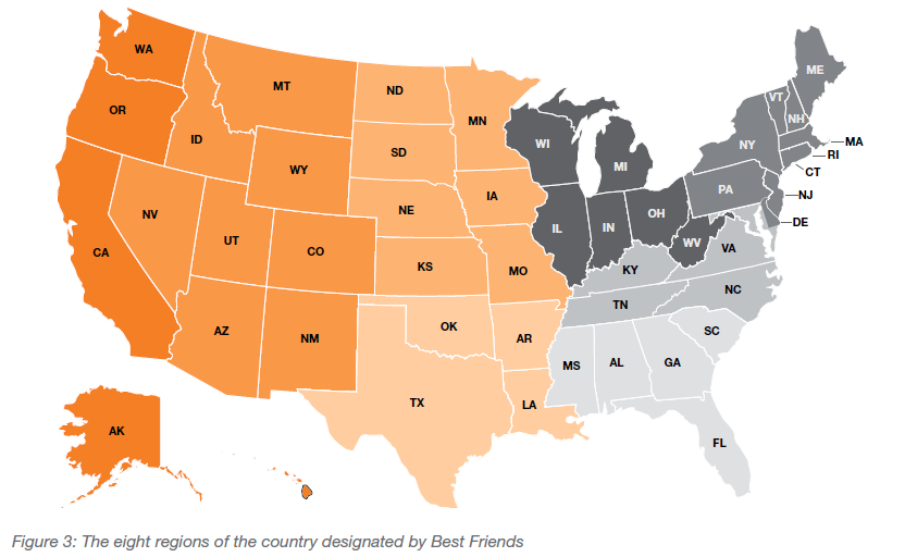 The eight regions of the country designated by Best Friends
