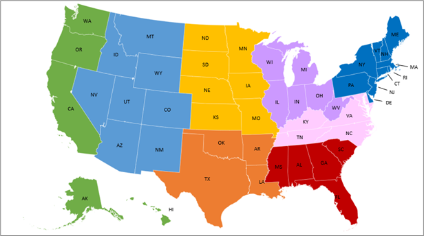 Map of U.S. showing eight BF regions