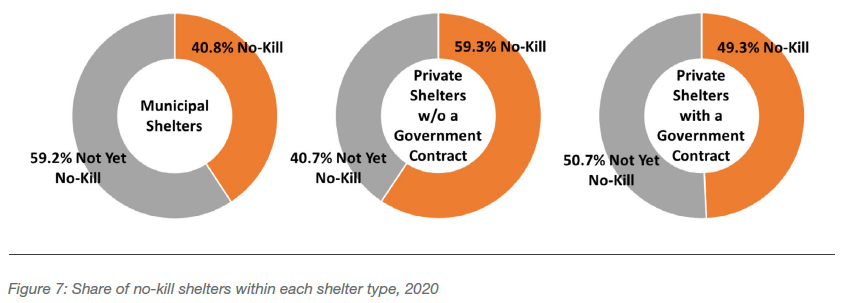 Share of no-kill shelters within each shelter type, 2020