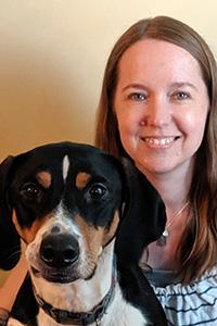 Jen Schrolucke with a dog