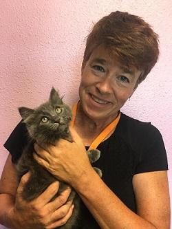 Paula Powell holding cat