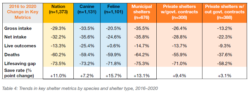 Trends in key shelter metrics by species and shelter type, 2016-2020