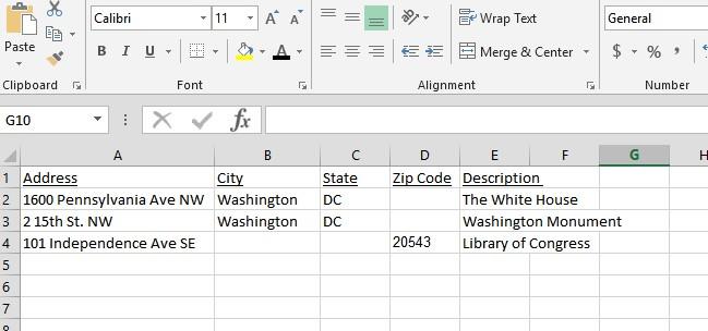 Screen shot of a spreadsheet