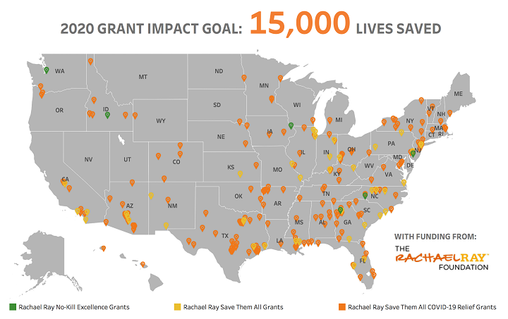Map of the United States indicating the location of grant recipients
