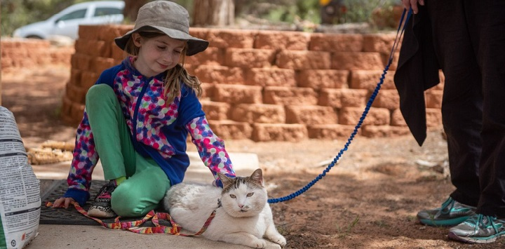 Girl in tan hat sitting with white cat on leash outside