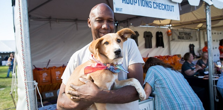Man holding brown puppy