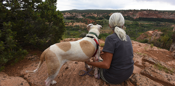 Woman and dog looking at the scenery at Best Friends Animal Sanctuary
