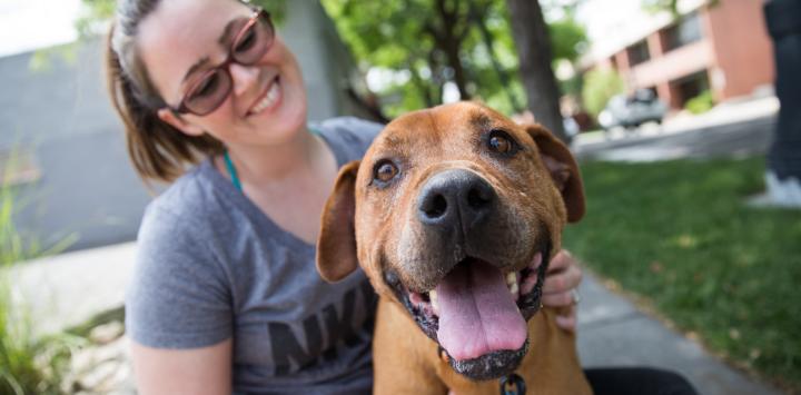 dog and caregiver