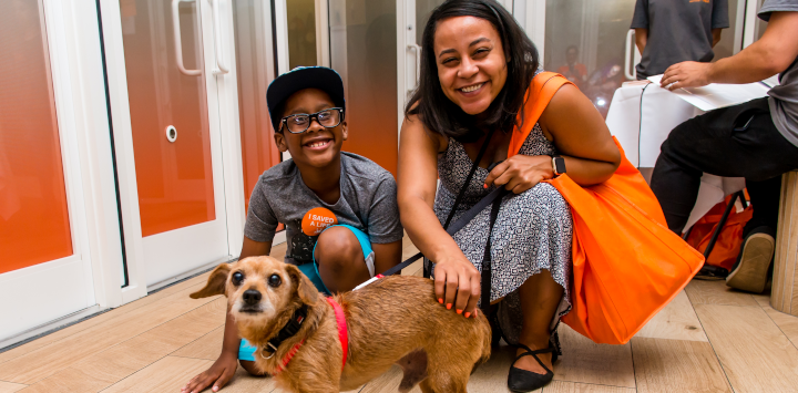Family with adopted dog
