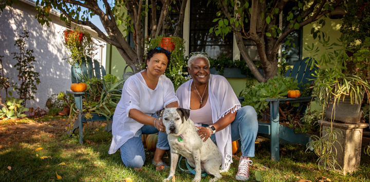Couple with adopted dog