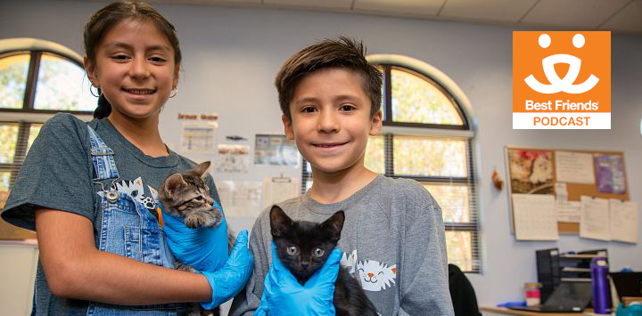 two kids care for kittens in an animal shelter